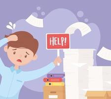 Stessed empresario con ayuda y pila de papeles trabajo de carpetas de caja vector