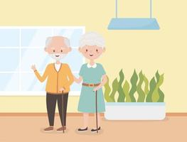 old people, happy grandparents together in room cartoon characters vector