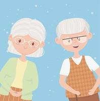 old people, happy grandparents, mature couple cartoon characters vector