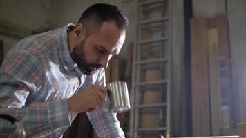 Man with a Beard Drinking Tea video