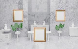 Frame mockup with plant marble floor and table in modern room 3d rendering 3dartwork photo