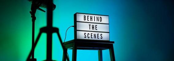 Behind the scenes letterboard text on Lightbox or Cinema Light box. photo