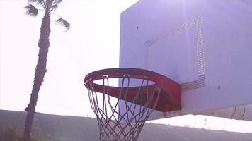 An empty outdoor blacktop court at the beach. video