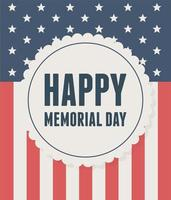 happy memorial day, label on flag national american celebration vector