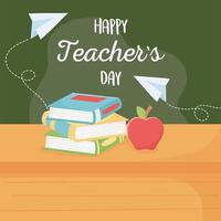 happy teachers day, school apple book and on table vector
