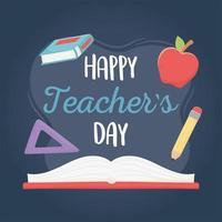 happy teachers day, school book apple ruler and pencil vector