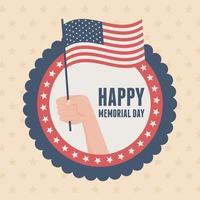 Feliz día de los caídos, insignia de mano con bandera insignia celebración americana vector