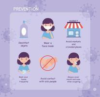 virus covid 19 prevention infographic with icons and text vector