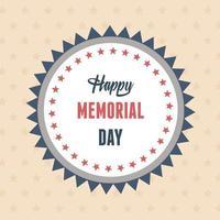 happy memorial day, lettering decorative label american celebration vector