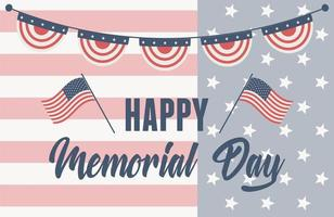 happy memorial day, lettering on flag pennants american celebration vector