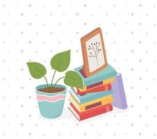 sweet home potted plant frame and books vector