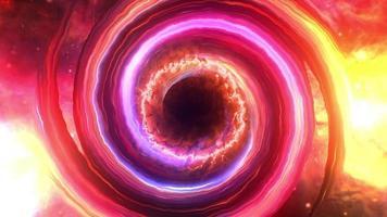 Loop colorido brilho buraco negro nebulosa nuvem de gás video