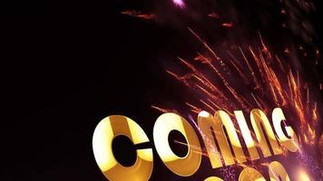 em breve título cinematográfico com movimento de partículas de fogos de artifício video