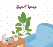 sweet home sofa books potted plant table furniture vector