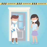 virus covid 19 quarantine, doctor and woman with mask medical room vector