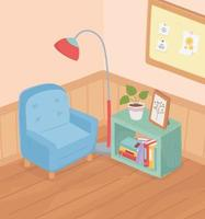 dulce hogar sofá planta en maceta libros estantería lámpara tablero de notas sala interior vector