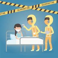 covid 19 virus quarantine, medical staff with sick woman body temperature scan vector