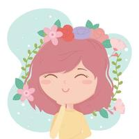 young woman brunette hair decoration flowers cartoon vector