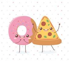 donut and pizza kawaii food cartoon character design vector