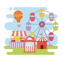 fun fair carnival ferris wheel booth ticket food recreation entertainment vector