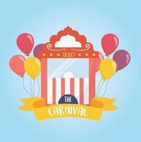 fun fair carnival ticket booth balloons recreation entertainment vector