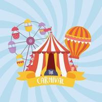 fun fair carnival ferris wheel tent air balloon recreation entertainment vector