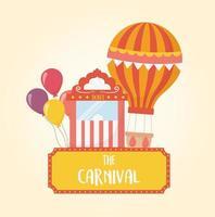 fun fair carnival air balloon ticket booth and balloons recreation entertainment vector