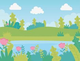 landscape meadow flowers lake foliage nature greenery image vector