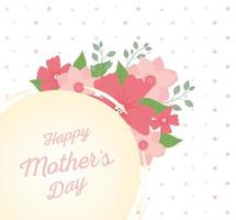 happy mothers day, typography flowers foliage dewcoration badge vector