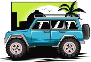 monster off road car in sunset background vector