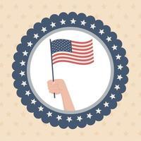 happy memorial day, hand waving flag label american celebration vector