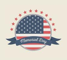happy memorial day, round label flag with ribbon stars american celebration vector