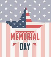 feliz día de los caídos, bandera en forma de estrella insignia antecedentes celebración americana vector