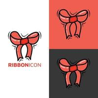 Ribbon kawaii icon logo For Baby and Children cute cartoon hand drawn doodle icon sticker vector