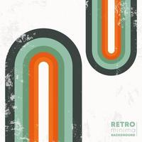 Retro design background with vintage grunge texture and colored rainbow. Vector illustration.