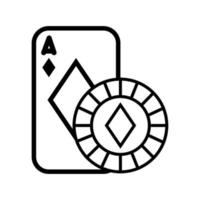 casino poker card and chip with diamond isolated icon vector