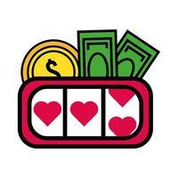 Icono aislado de la máquina tragamonedas de casino vector