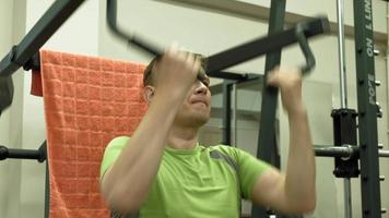 Fat man in the gym. Fitness and Healthy lifestyle video