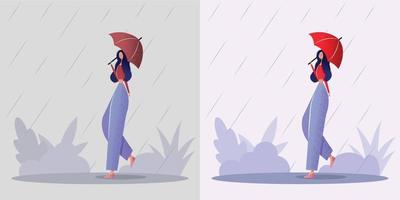 Smiling young woman walking with umbrella in rain Concept of a good mood negative mood in all situations Colorful vector illustration