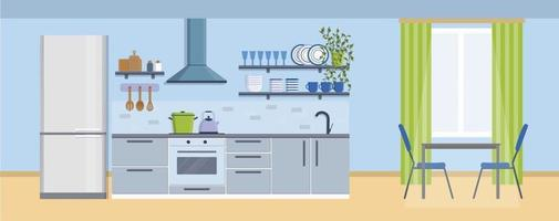 Cozy kitchen interior with table, window, stove, cupboard, dishes and fridge. Furniture design banner concept. Dining area in the house, kitchen utensils. Illustration slide for furniture site vector