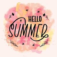 Hello summer lettering calligraphy card. Vector greeting illustration. Black text with elements on watercolor background