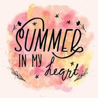 verano en mi tarjeta de caligrafía de letras de corazón. ilustración de saludo de vector. texto negro con elementos sobre fondo de acuarela vector