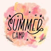 Summer camp lettering calligraphy card. Vector greeting illustration. Black text with elements on watercolor background
