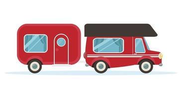 red van car for travel  motorhome camp vector