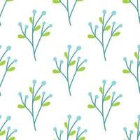 A plant with berries on a white background. Vector seamless pattern in flat style. Wallpaper, packaging paper and fabric design, printing
