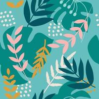 Tropical bright plants. Palm branches, monstera leaves. Vector seamless pattern in flat style for fabric, wrapping paper, postcards, wallpaper