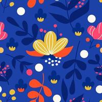 Bright plants and flowers on a blue background. Vector seamless pattern in flat style for fabric, wrapping paper, postcards, wallpaper