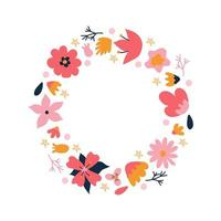 Colorful flower wreath. Elegant composition of plants in the form of a circle on a white background. Vector illustration in a flat style. Design of invitations, wedding or greeting cards