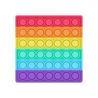 A bright pop it fidget trend. Antistress toy in the shape of a square for children. Convex iridescent bubbles. Vector illustration on a white background