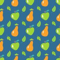 Apples and pears with leaves on a blue background. Vector seamless pattern in a flat style. Wallpaper, packaging paper and fabric design, print